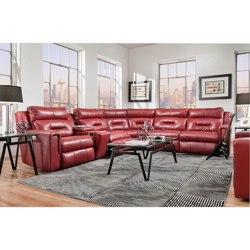 Southern Motion Excel Reclining Sectional Sofa with 5 Seats
