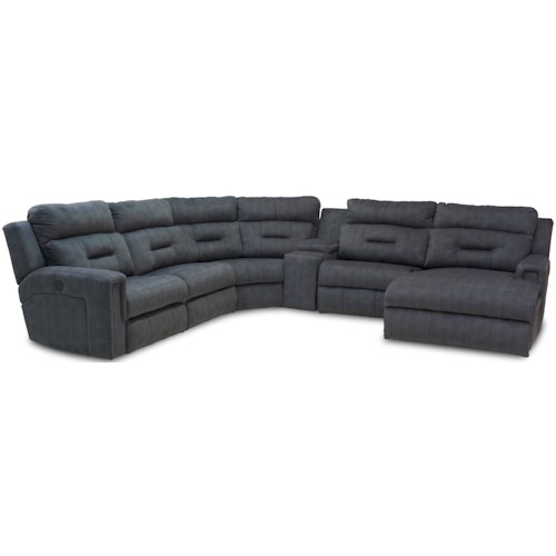 Southern Motion Excel Five Seat Reclining Sectional with Chaise