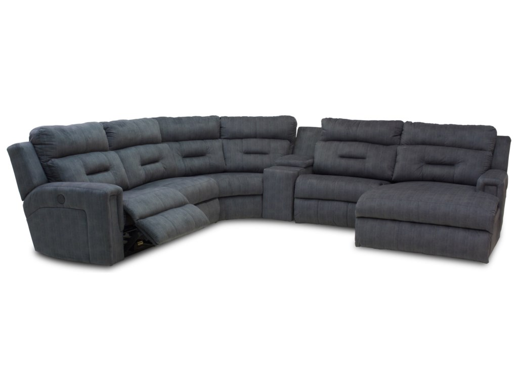 Southern Motion ExcelFive Seat Reclining Sectional with Chaise
