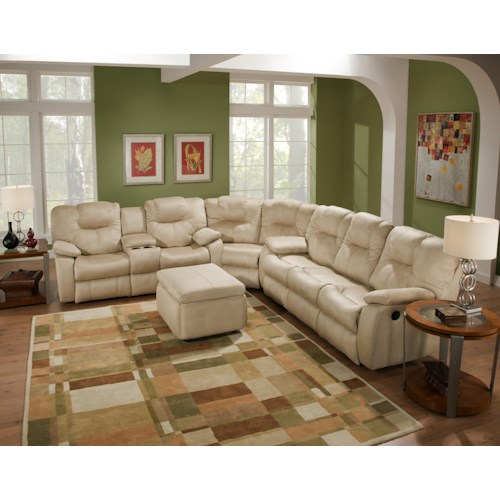 Southern Motion Avalon Three Piece Sectional Sofa with Drop Down Table