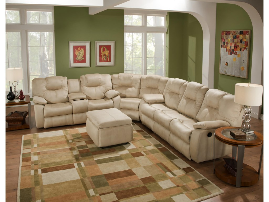 Southern motion avalon three piece sectional sofa with drop down drop down table sectional shown may not represent exact features indicated geotapseo Choice Image
