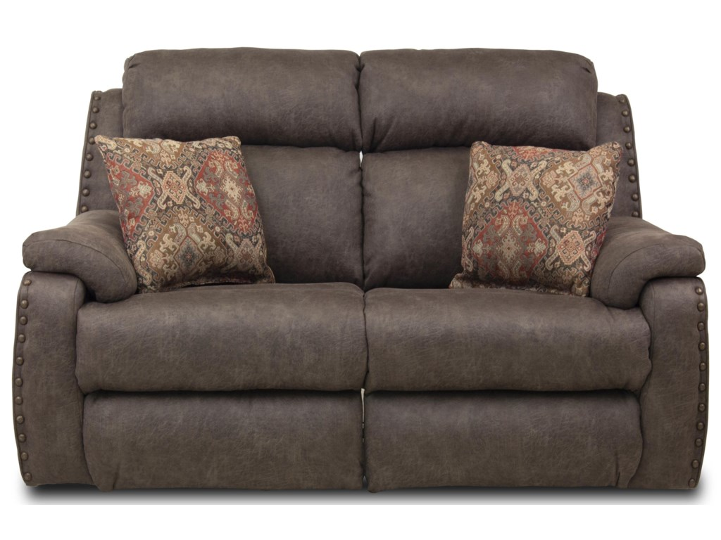 Southern Motion Blue RibbonDbl Recl Loveseat w/ Pillows & Pwr Headrests
