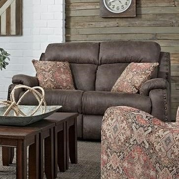 Southern Motion Blue Ribbon Double Reclining Loveseat with Pillows and Power Headrests