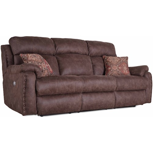 Southern Motion Blue Ribbon Double Reclining Sofa with Pillows and Power Headrests