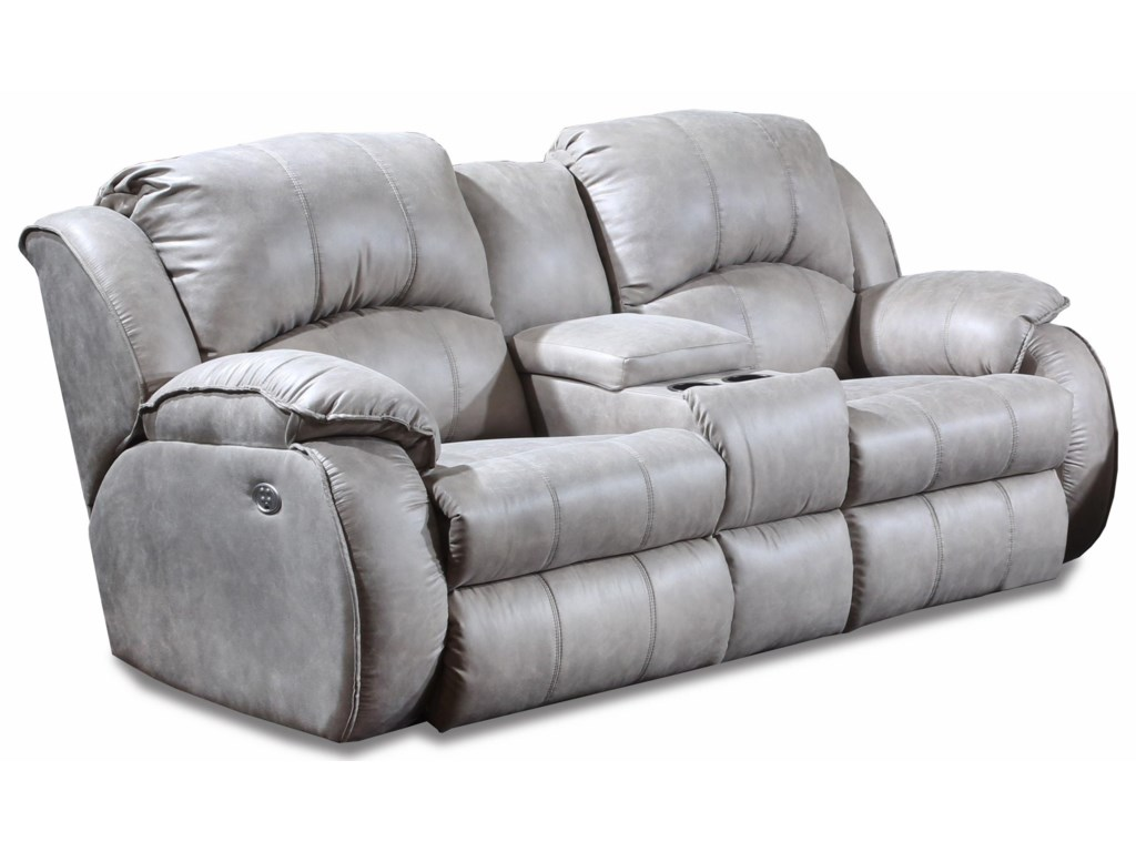 Cagney Comfy And Convenient Console Sofa With Reclining Chairs Cup Holders By Southern Motion