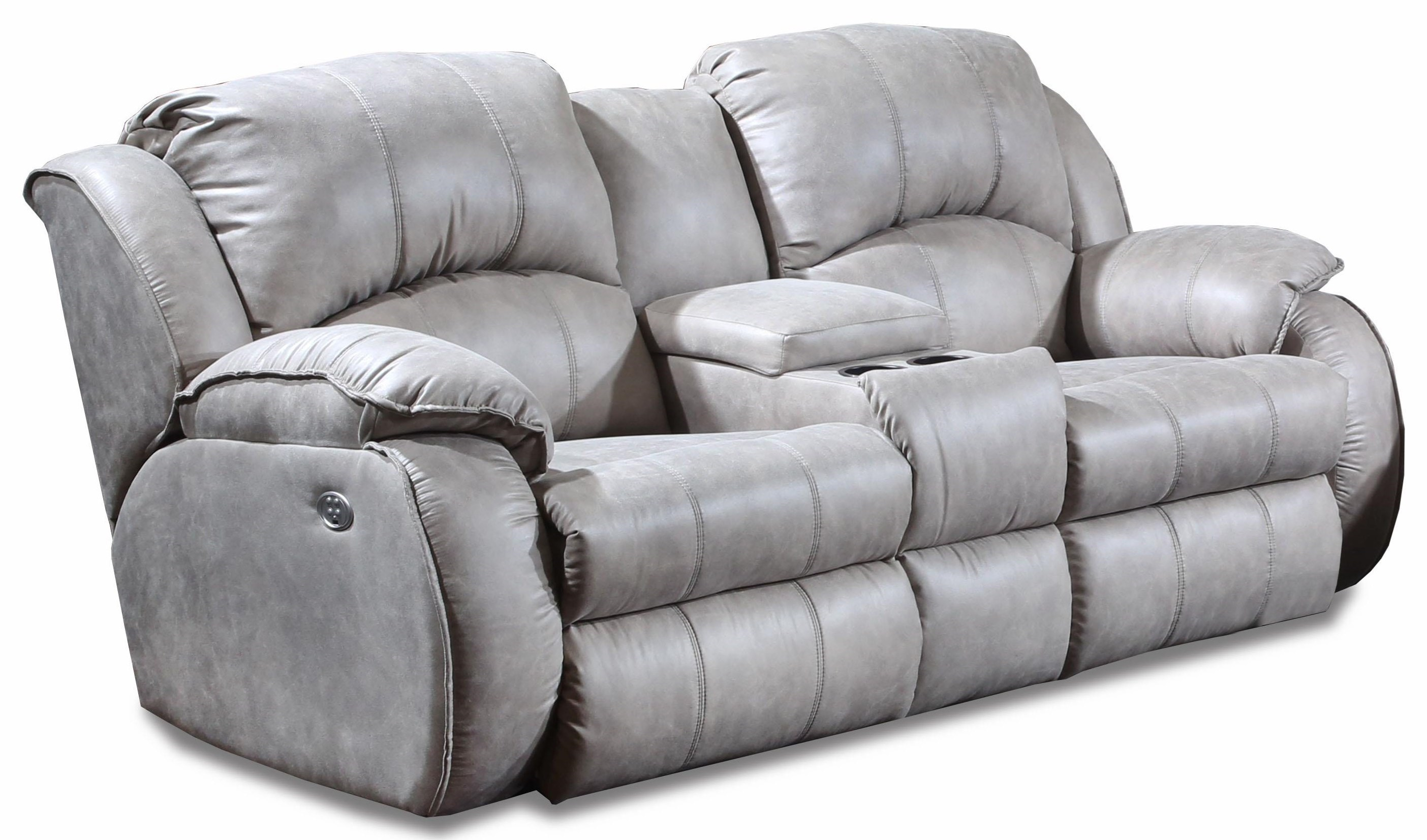 Cagney Comfy And Convenient Console Sofa With Power Reclining Chairs And  Cup Holders By Southern Motion