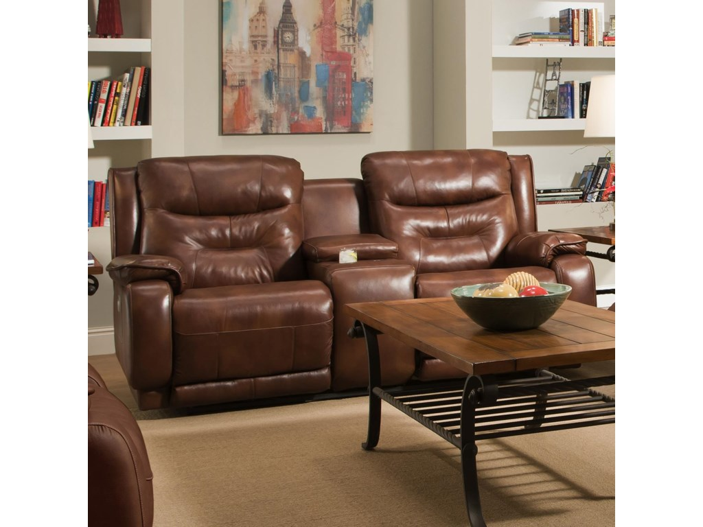 Southern Motion CrescentDouble Reclining Console Loveseat
