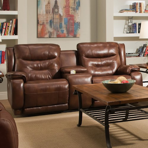 Design to Recline Crescent Double Reclining Console Sofa with Power Headrests