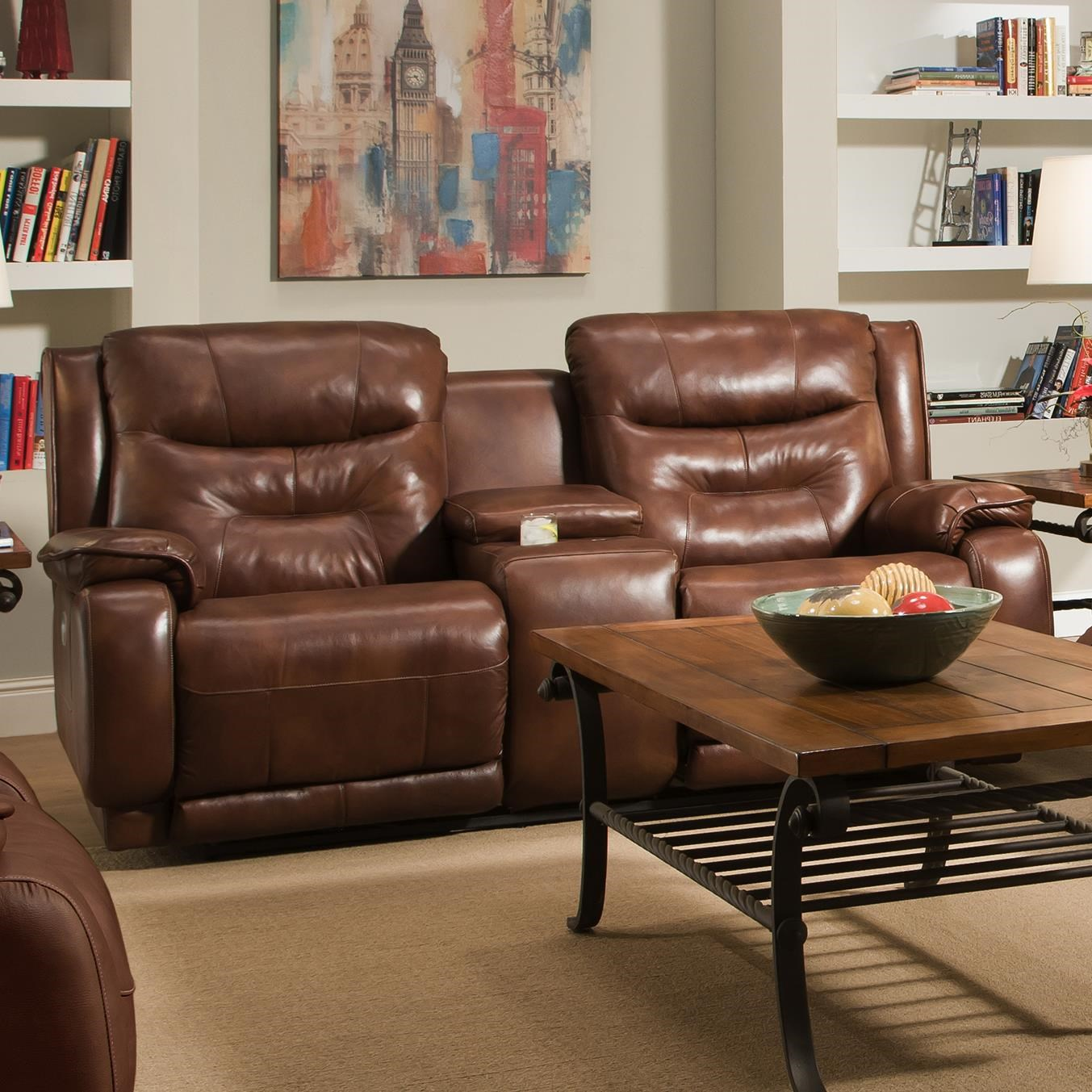 Gentil Southern Motion CrescentReclining Console Sofa With Power Headrests