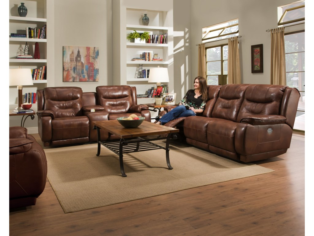 Southern Motion CrescentReclining Console Loveseat Power Headrest