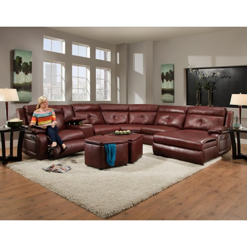 Southern Motion Dash  Contemporary Styled Reclining Sectional Sofa with Chaise and Console