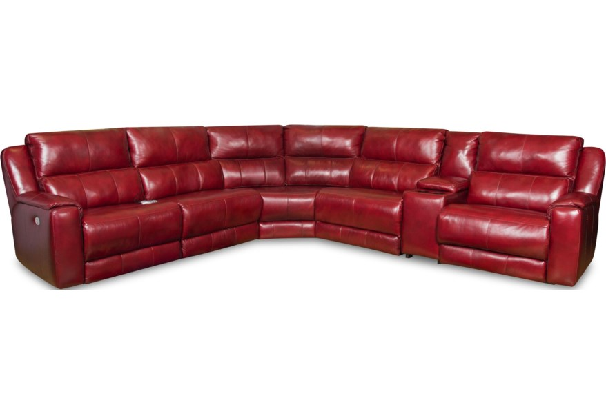 Southern Motion Dazzle Sectional Sofa With 5 Seats And Cup Holders Power Headrests Darvin Furniture Reclining Sofas