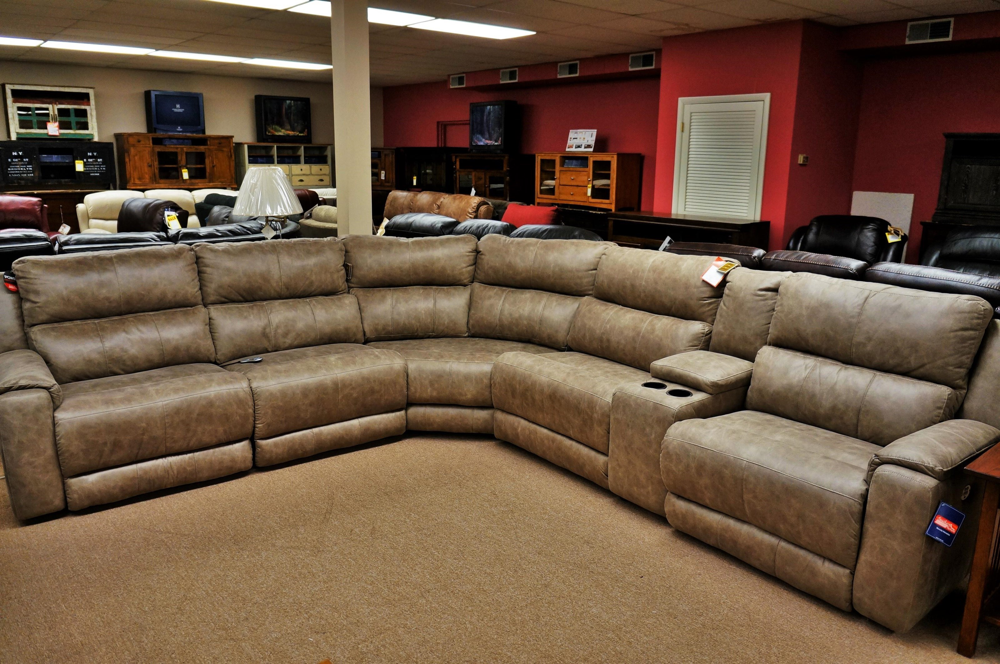 southern motion dazzle reclining sectional sofa with 5 seats and power headrests mueller furniture reclining sectional sofas