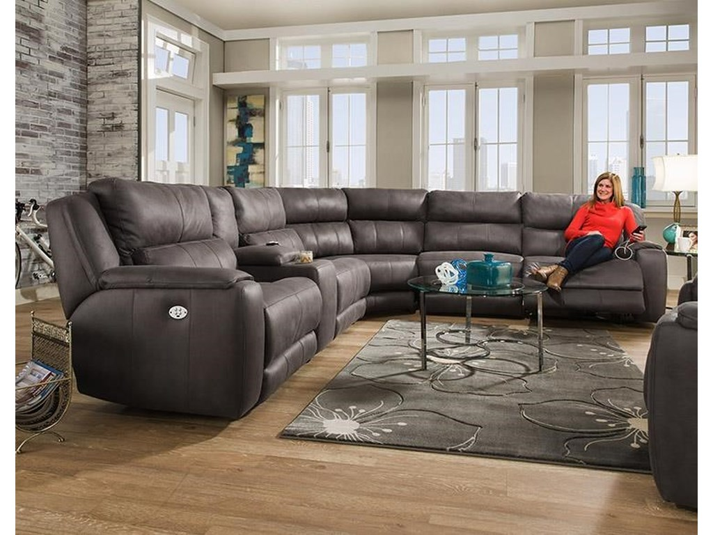 Dazzle Sectional Sofa With 5 Seats And Cup Holders Headrests By Southern Motion