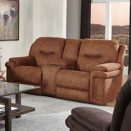 Design to Recline Duran Double Reclining Console Sofa with Power Plus