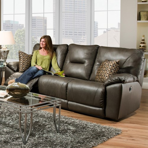Southern Motion Dynamo Double Reclining Sofa with Pillows for Family Rooms