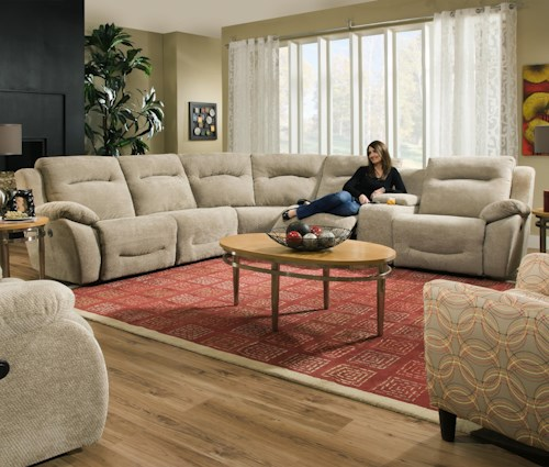 Southern Motion Eclipse Corner Shaped Power Reclining Sectional with 5 Seats