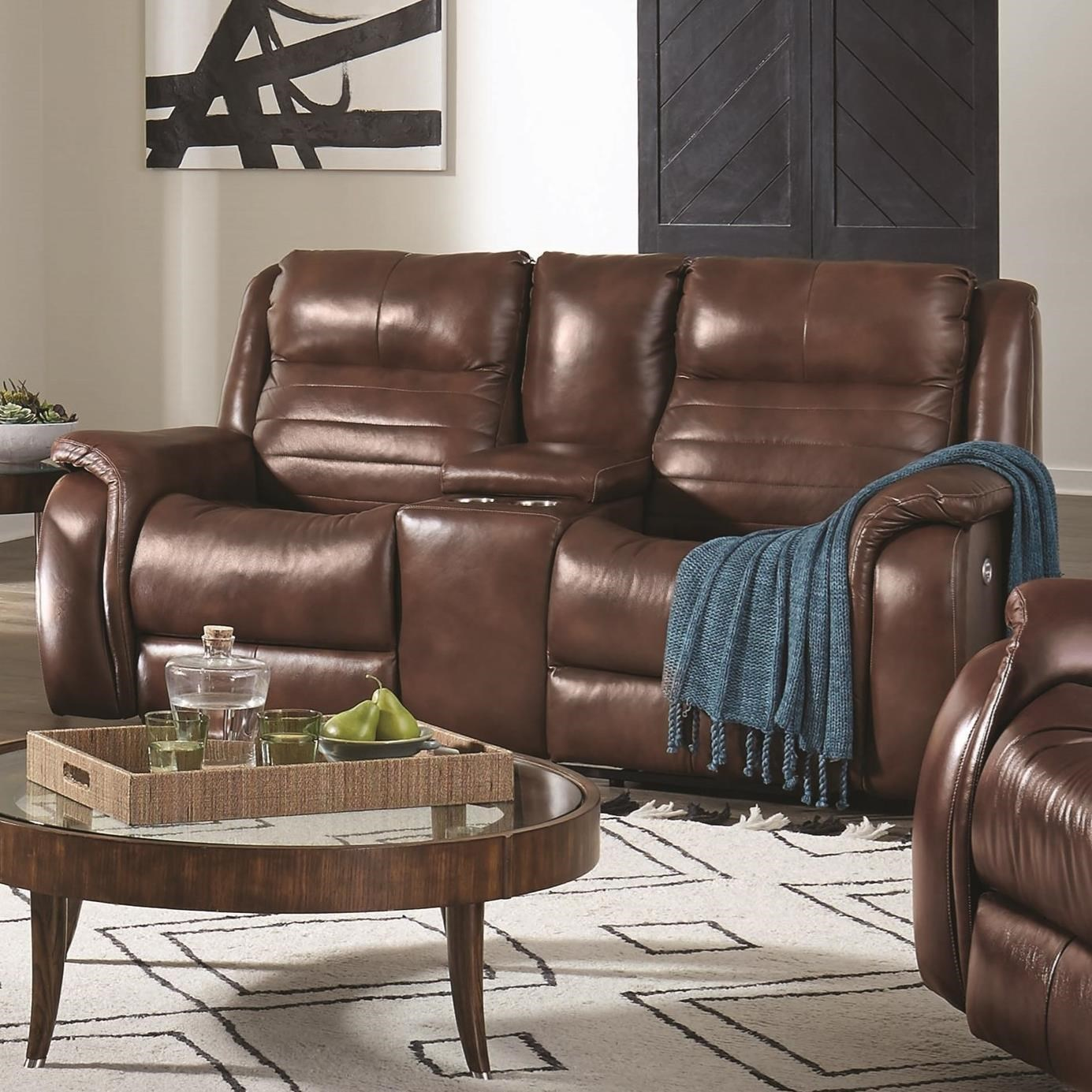Picture of: Southern Motion Essex Contemporary Console Double Reclining Loveseat With Cupholders Sheely S Furniture Appliance Reclining Loveseats