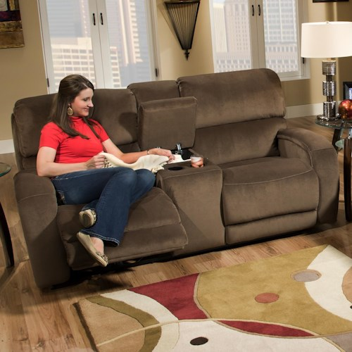 Design to Recline Fandango 884 Casual Console Sofa with Storage and Cup-Holders