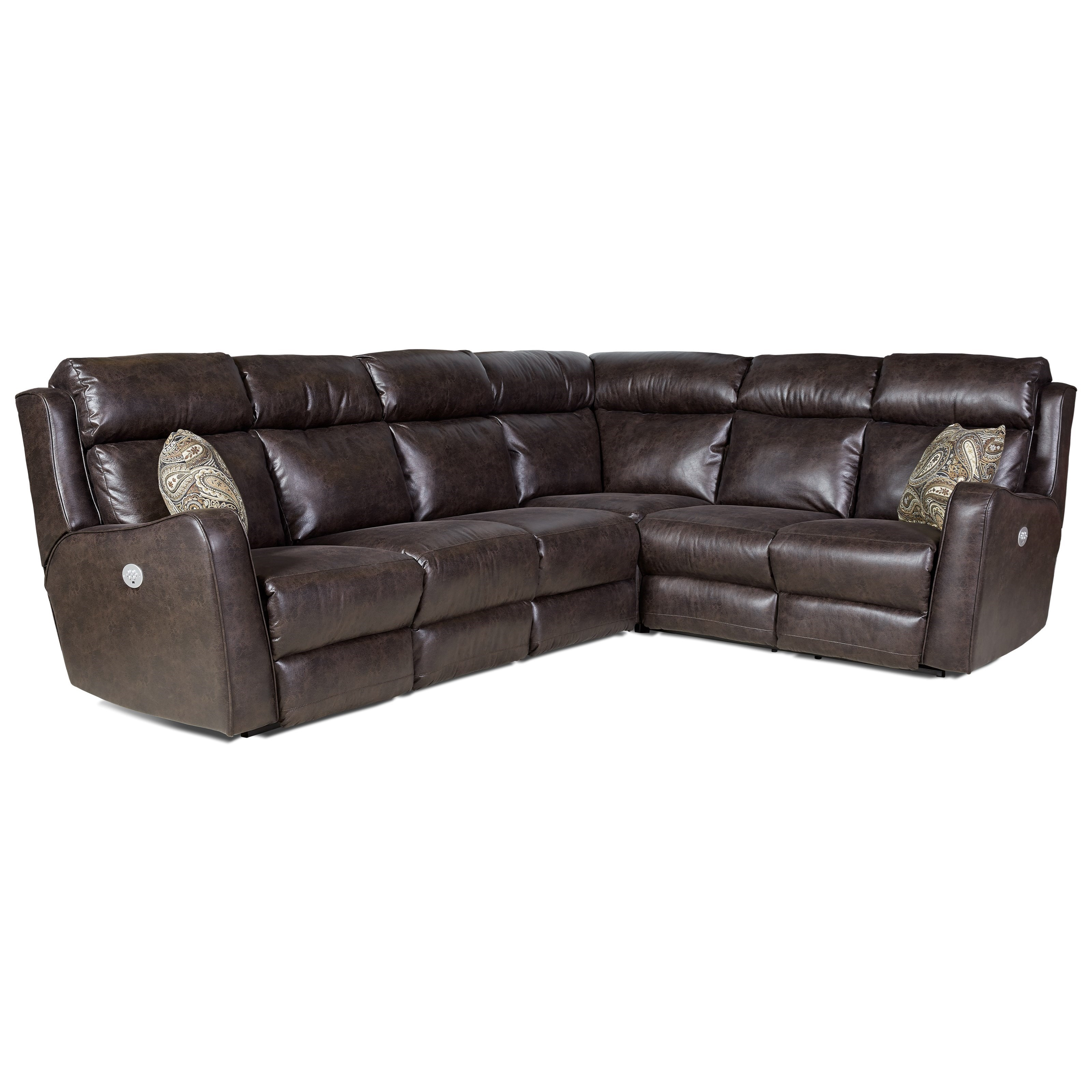 first class 718 power reclining sectional sofa with five seats by southern motion