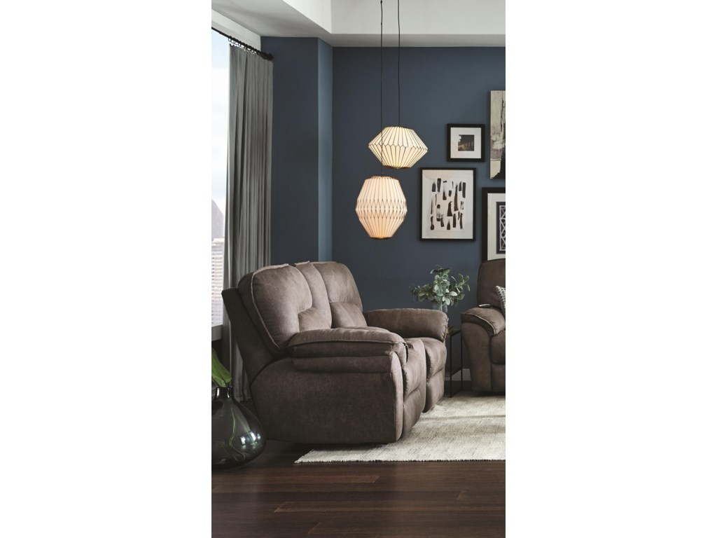 Southern Motion Full RideReclining Loveseat with Console