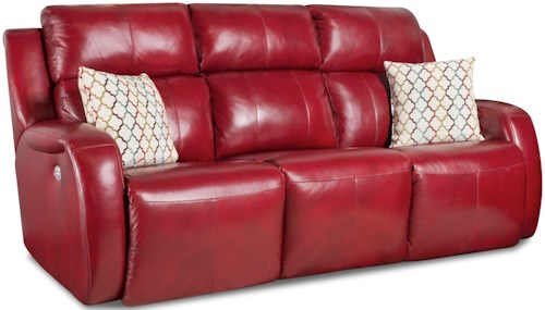 Design to Recline Grand Slam Double Reclining Sofa with 2 Pillows and Power Headrests