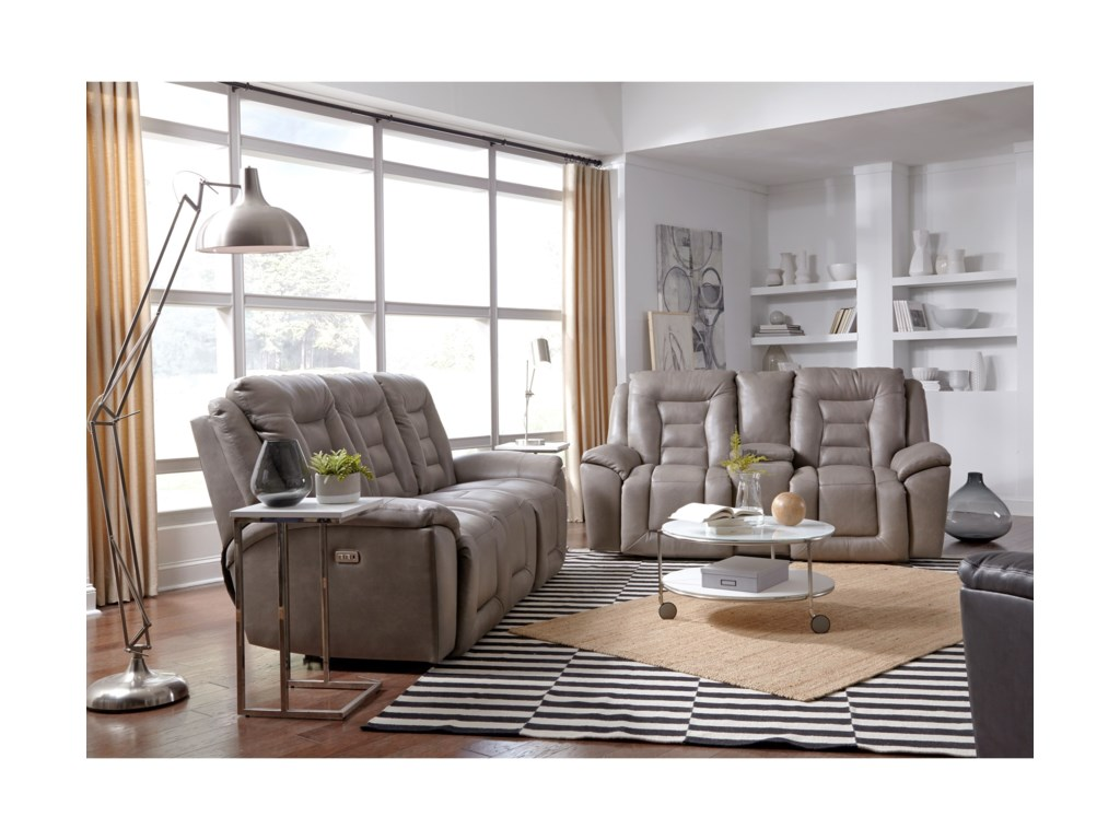 Southern Motion Grid IronDouble Reclining Sofa w/ Console
