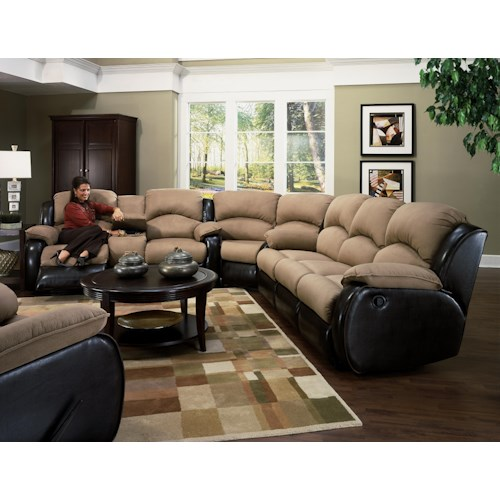 Design to Recline Jolson Reclining Sectional Sofa with Storage Console