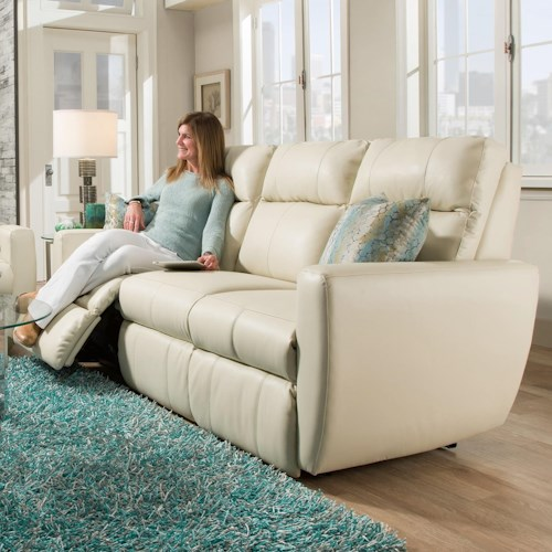 Southern Motion Knock Out Power Reclining Sofa with Pad-Over-Chaise Seating