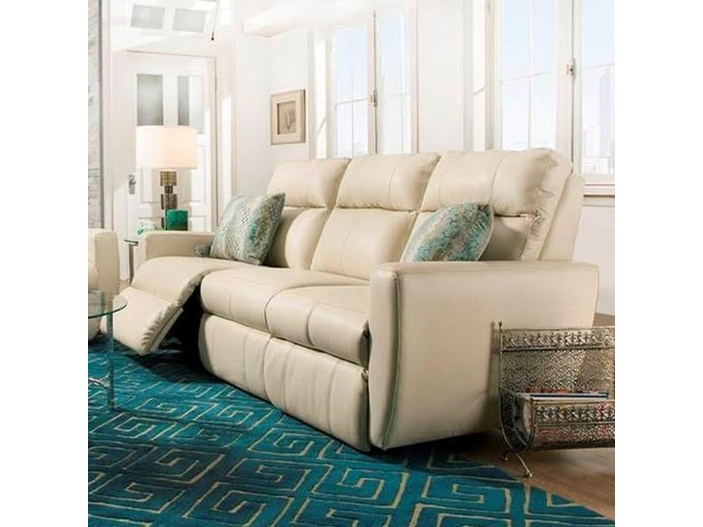 Southern Motion Knock OutReclining Sofa with Pillows & Power Headrest