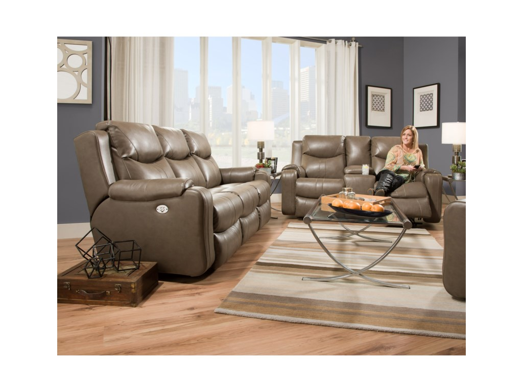 Southern Motion MarvelDouble Reclining Sofa with Console