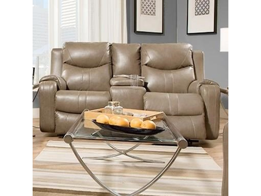 Southern Motion MarvelReclining Sofa with Console & Power Headrest