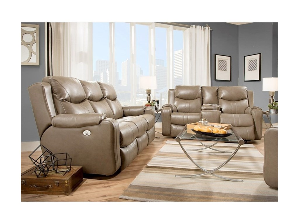 Southern Motion Marvel Double Reclining Sofa With Console And Power