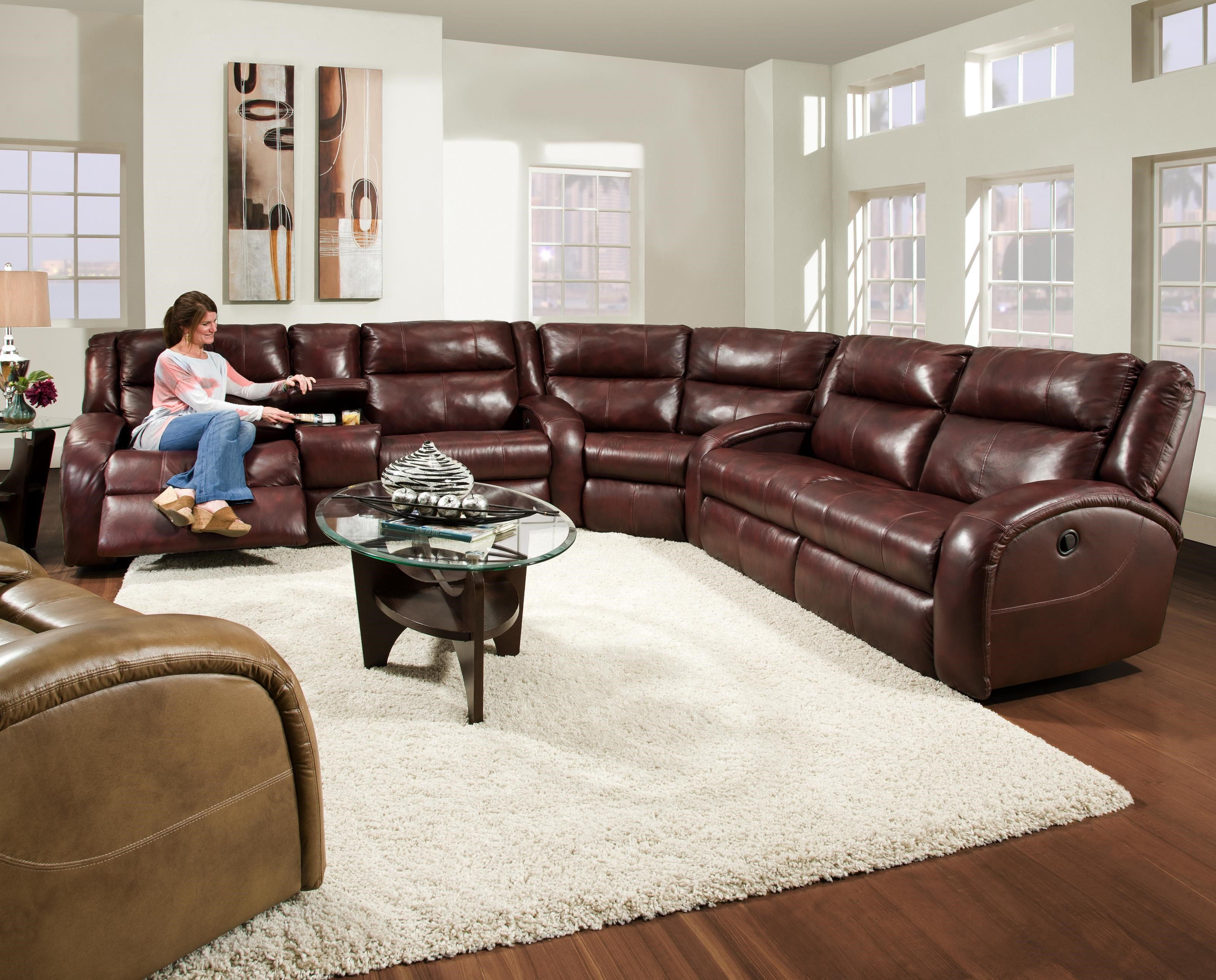 Southern Motion Maverick Reclining Sectional Sofa With Contemporary Style