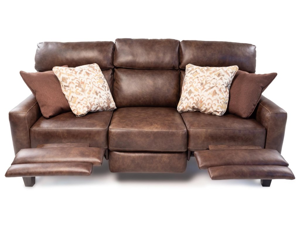 Design to Recline EastwoodPower Headrest Sofa with Pillows