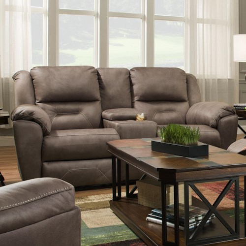 Southern Motion Pandora Double Reclining Console Sofa with Power Plus Headrest