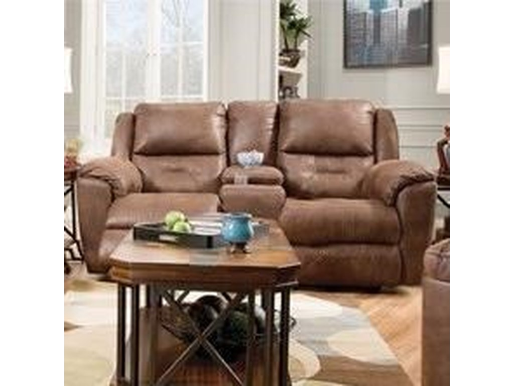 Southern Motion Pandora 751 28 Double Reclining Console Sofa With