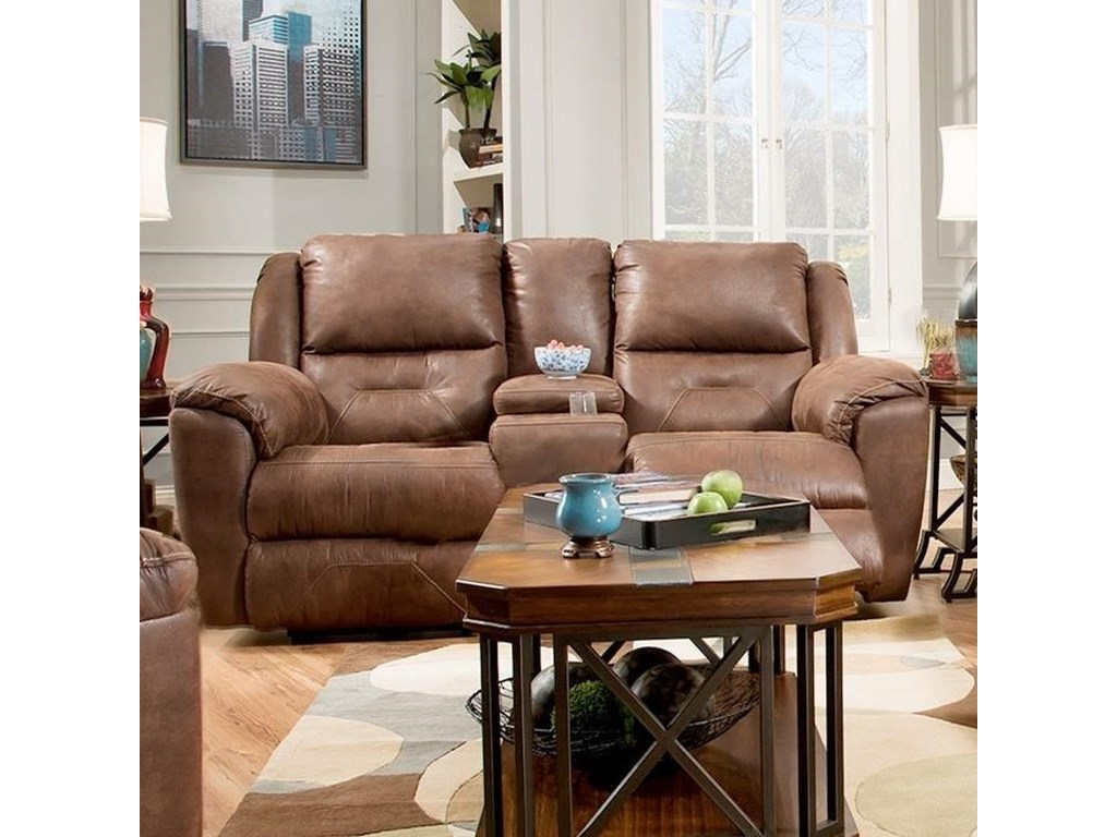 Southern Motion PandoraPower Double Reclining Console Loveseat