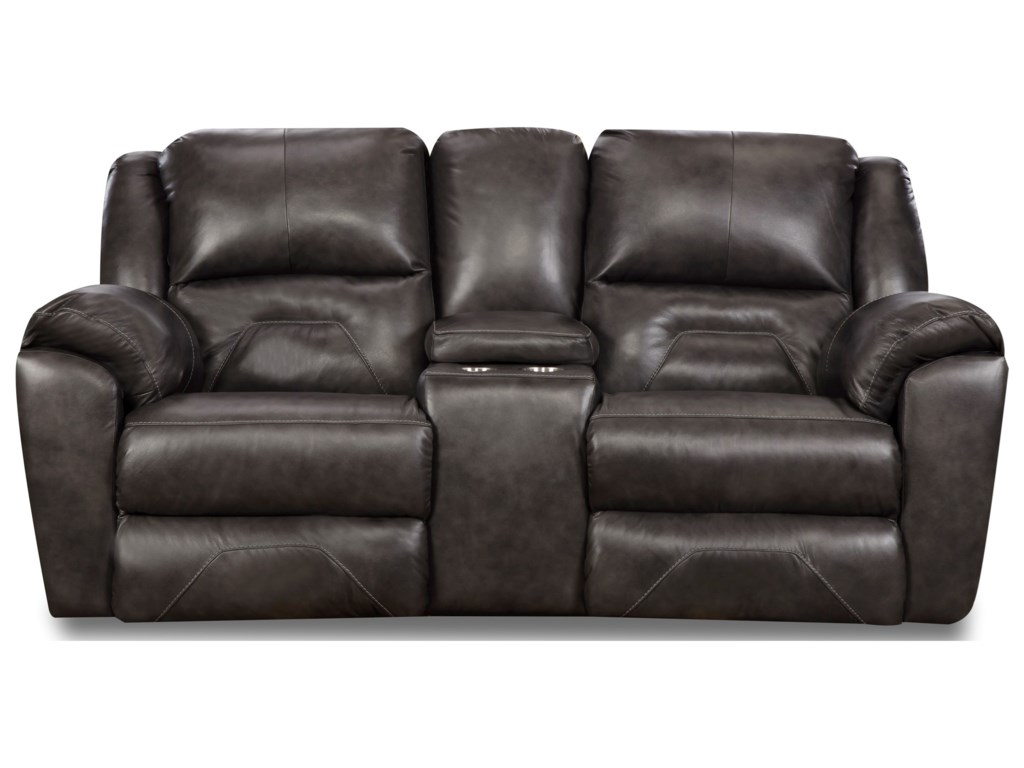 Southern Motion PandoraDouble Recl. Console Sofa w/ Power Headrest