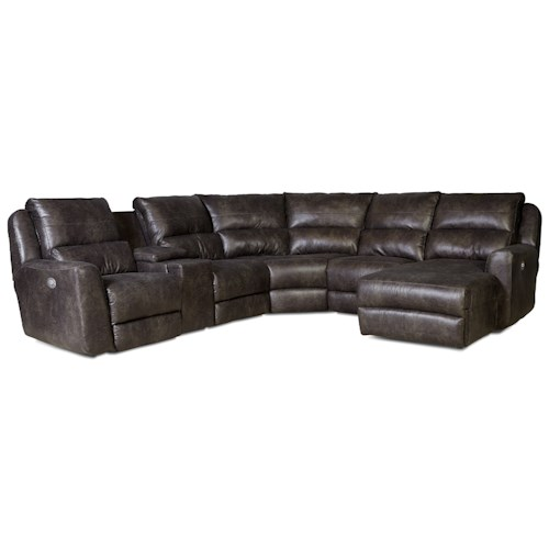 Southern Motion Producer Power Reclining Sectional Sofa with 5 Seats