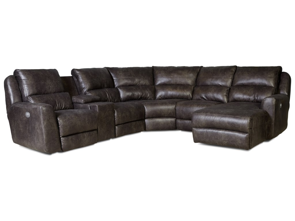 Southern Motion ContenderPower Reclining Sectional Sofa with 5 Seats
