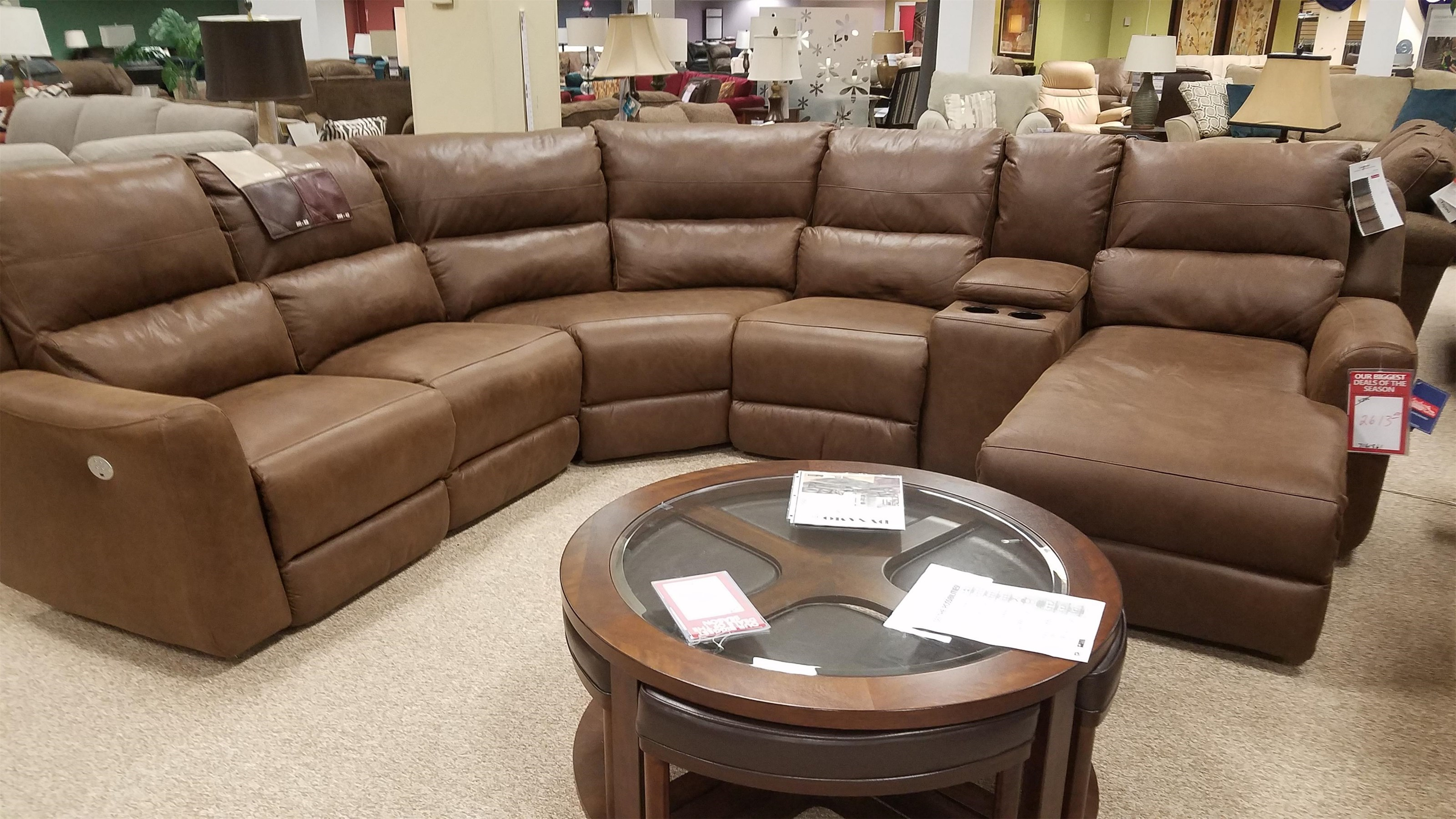 Producer 6 Piece Power Reclining Sectional With Power Headrest And Chaise  By Southern Motion