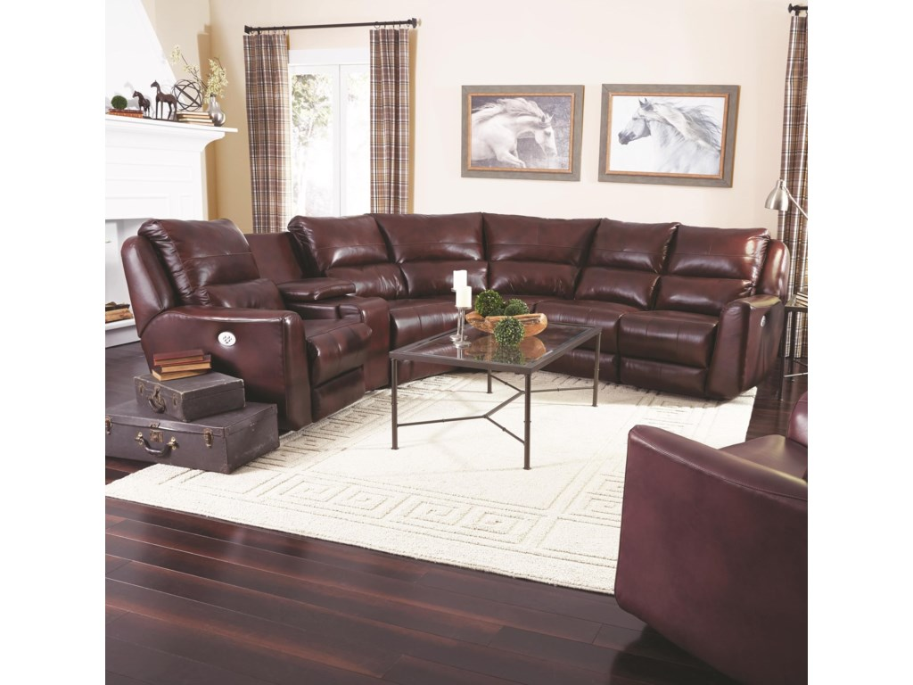 Southern Motion Producer Reclining Sectional Sofa with 5 Seats (no ...
