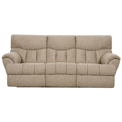 Design to Recline Full Relaxer Powerized Double Reclining Sofa with Two End Recliners and Padded Footrests