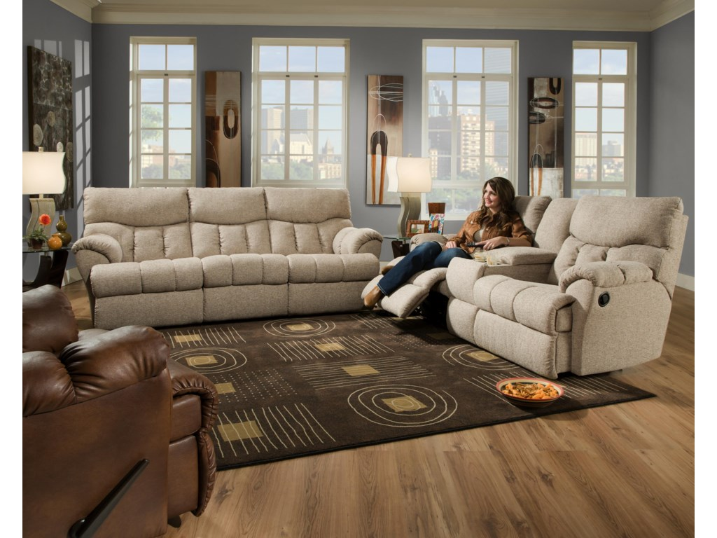 Shown with Coordinating Collection Console Sofa. Recliner Shown Left Corner. Sofa Shown May Not Represent Exact Features Indicated