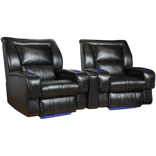 Southern Motion Roxie Theater Seating Arrangement (Wall Hugger) with 2 Seats, LED Lights and Cup-Holders