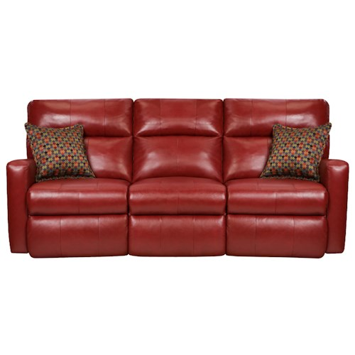 Belfort Motion Parker Contemporary Styled Double Reclining Power Sofa for Family Rooms