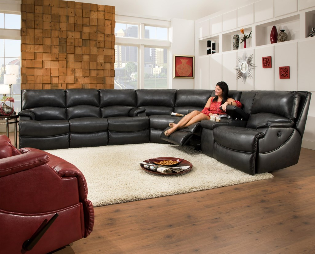 Southern Motion Shazam Six Seat Reclining Sectional Sofa with Cup
