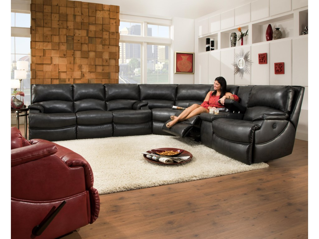 Southern Motion Shazam Six Seat Reclining Sectional Sofa With Cup Holders And Storage Console Hudson S Furniture
