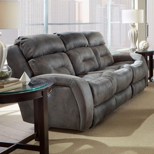 Southern Motion Showcase Double Reclining Sofa With Headrest And Drop Down Table